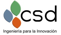 Image of the company logo, with the letters 'csd' in black on a white background with three petal-shaped forms in green, blue and orange to one side and the strapline 'Ingeniería para la Innovación' below