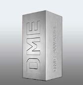 Image of the Design Management Europe award trophy, a silver cuboid positioned vertically on its side with 'DME' engraved on one side and 'DME Award_' on the other