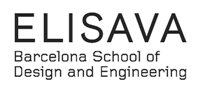 Image of the ELISAVA logo, the words ELISAVA with the words 'Barcelona School of Design of Engineering' written below in black on a white background