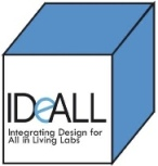 Image of the IDeALL logo, a blue and white cube with the project title written inside
