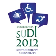 Image of the SUDI 2012 logo which comprises the confernce title below three speech bubbles with access icons for vision, mobility and hearing