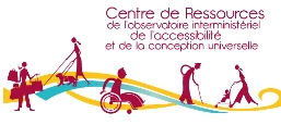 Image of the logo of the centre, with its title written in French surrounded by drawings of moving figures, such as a wheelchair user, stick user and person with a pushchair