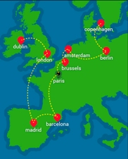 Map graphic showing Eurotrotters' itinerary