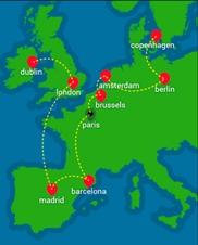 Graphique d'une carte qui montre l'itinéraire des Eurotrotters