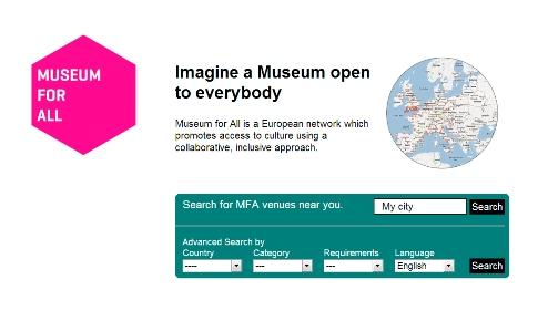 Screenshot of MuseumforAll.eu homeapage