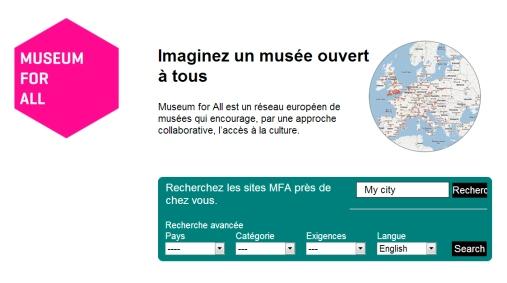 Capture d'écran de la page d'accueil de MuseumforAll.eu
