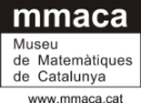 Image of the MMACA logo, a rectangle with the letters 'mmaca' in lower-case white text on black, and the organisation title 'Museu de Matemàtiques de Catalunya' in black on a white background underneath